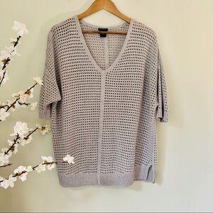 Ann Taylor Crochet Knit Top Size L
